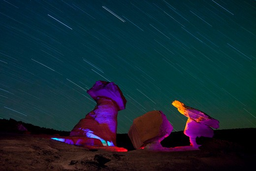 Stock Photo: 1317-1144 Star trails over hoodoos at night, Stud Horse Point, Utah-Arizona Border, USA