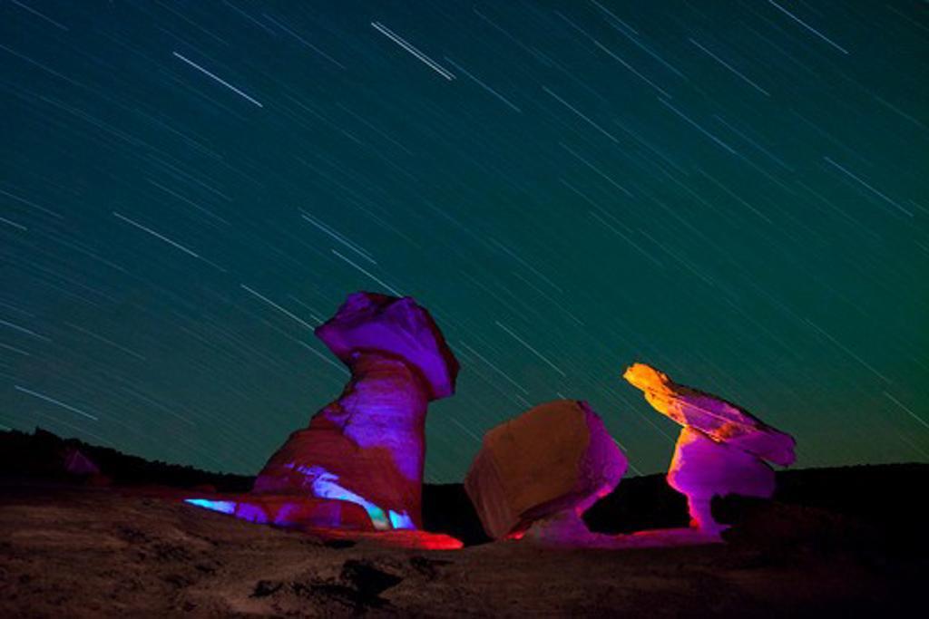 Star trails over hoodoos at night, Stud Horse Point, Utah-Arizona Border, USA : Stock Photo