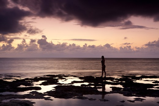 Stock Photo: 1317-1285 Silhouette of a woman standing on the coast, Spanish Key, Florida, USA