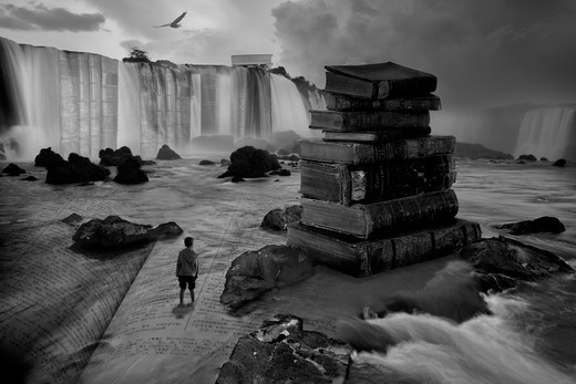 Stock Photo: 1317-1338 Brazil, Iguacu National Park, Iguacu Falls, Devil's Throat, Conceptual Art representing Life's learning process and the abundance of knowledge one must try and obtain through out life.