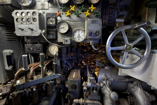 Stock Photo: 1317-1356 USA, Texas, Galveston, Seawolf Park, Interior View of USS CAVALLA WWII Submarine