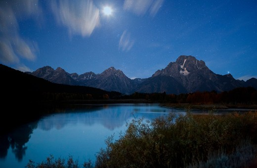 Stock Photo: 1317-1364 USA, Wyoming, Grand Teton National Park, Moonlight and stars at Oxbow Bend