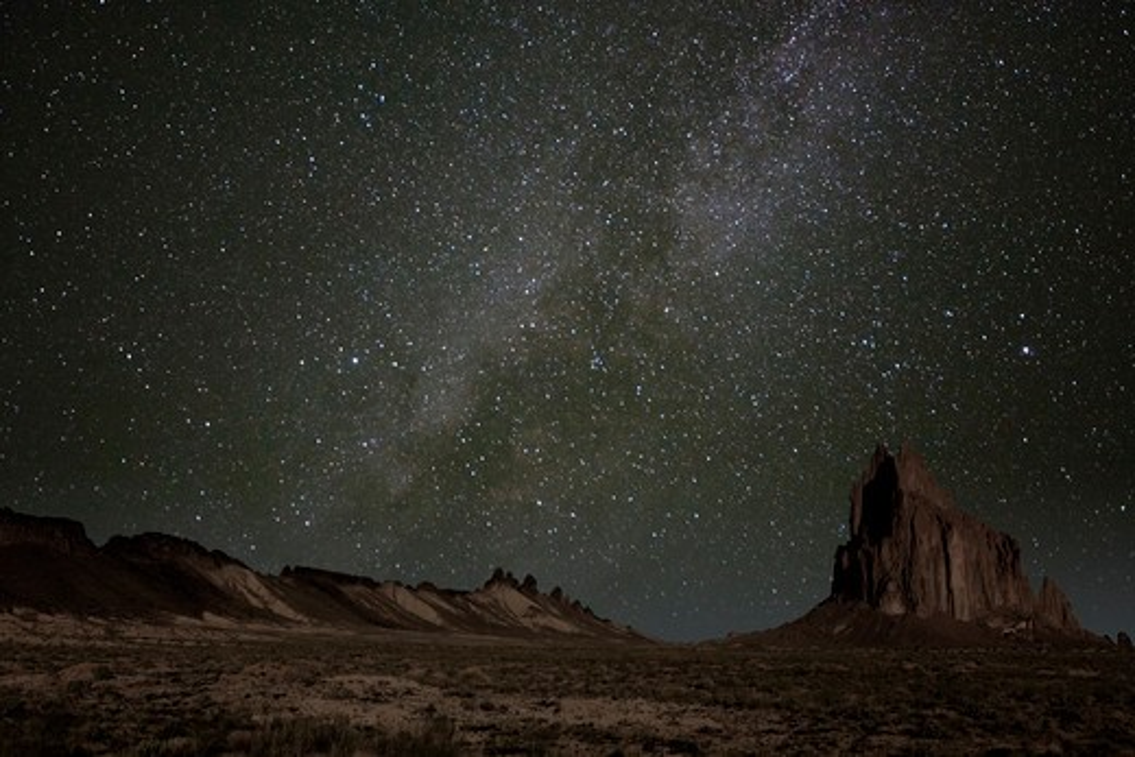 USA, New Mexico, Tse Bi Dahi, Shiprock at night with milky way, Navajo sacred site : Stock Photo