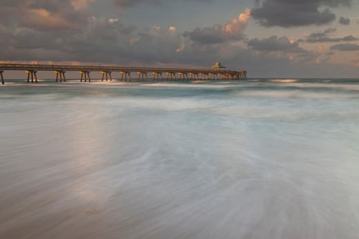 Pier on the beach, Boca Raton Pier, Boca Raton Beach, Palm Beach County, Florida, USA : Stock Photo