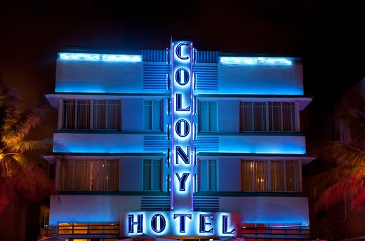 Hotel lit up at night, Art Deco District, South Beach, Miami Beach, Miami-Dade County, Florida, USA : Stock Photo