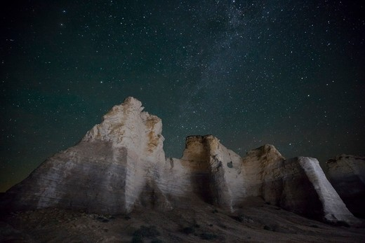 Stock Photo: 1317-1485 Rock formations at Monument Rocks, Gove County, Kansas, USA
