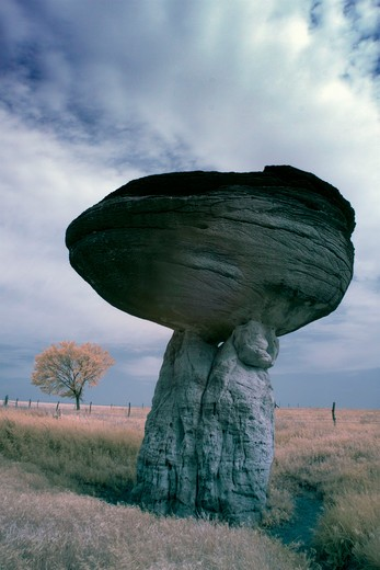 Stock Photo: 1317-1488 Hoodoo rock formations, Mushroom Rock State Park, Kansas, USA
