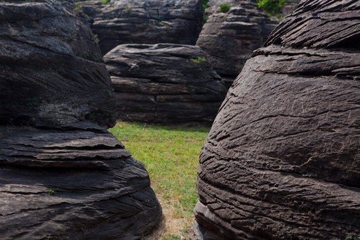 Stock Photo: 1317-1498 Odd Dakota sandstone concretions in Rock City, Kansas, USA