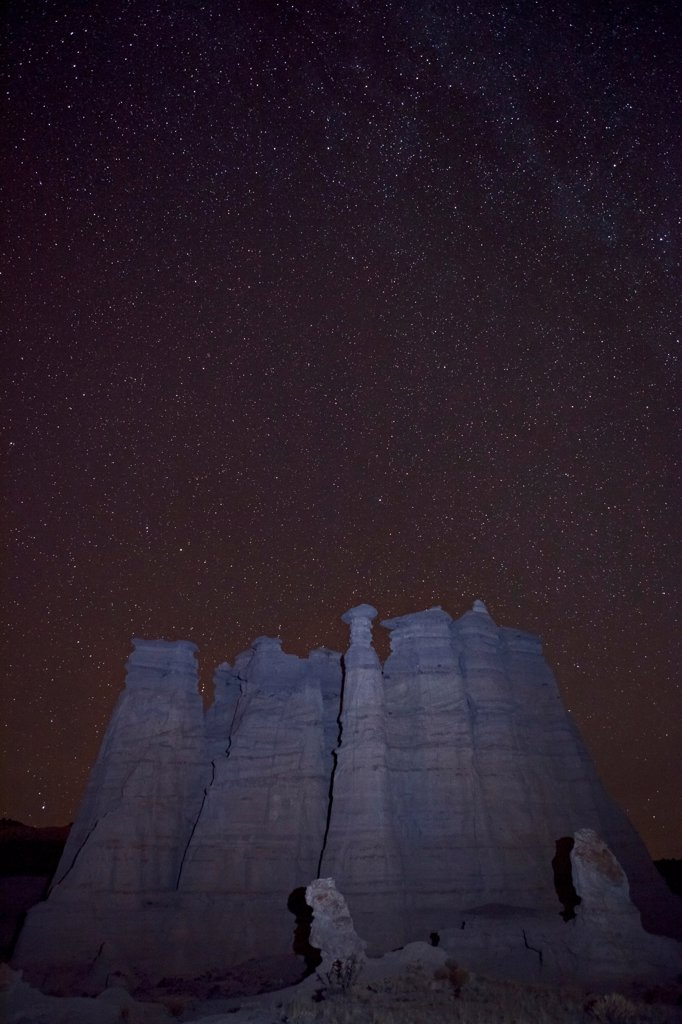 Stock Photo: 1317-1584 USA, New Mexico, San Juan Badlands, White City, 'Sierra Negra' Badlands, Plaza Blanca at night