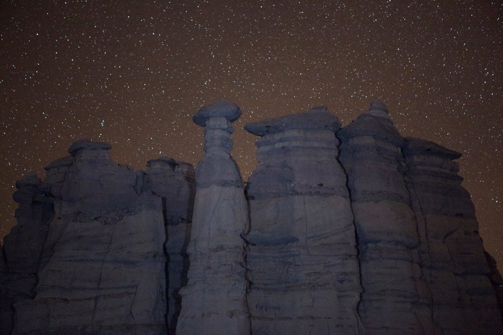 Stock Photo: 1317-1587 USA, New Mexico, San Juan Badlands, White City, 'Sierra Negra' Badlands, Plaza Blanca at night