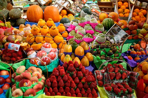 Stock Photo: 1317-312 Fruits stall in a market, Sao Paulo, Sao Paulo State, Brazil