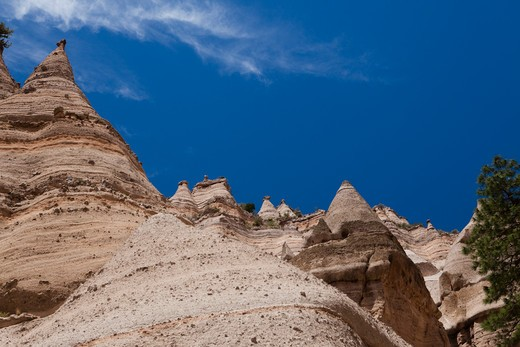 Stock Photo: 1317-688 Low angle view of rock formations, Kasha-Katuwe Tent Rocks, Sandoval County, New Mexico, USA