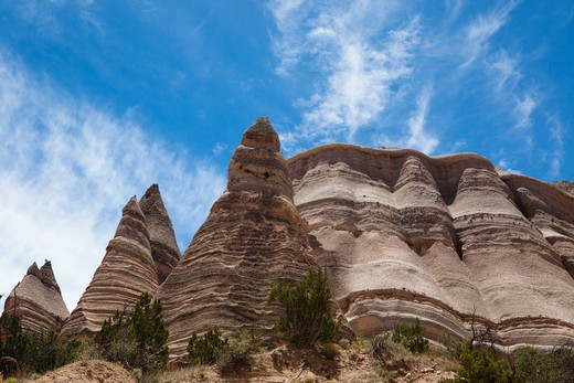 Stock Photo: 1317-695 Low angle view of rock formations, Kasha-Katuwe Tent Rocks, Sandoval County, New Mexico, USA