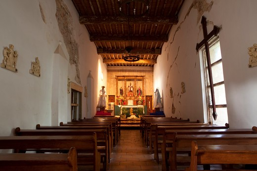Stock Photo: 1317-711 Interiors of a church, Mission San Juan, San Antonio Missions National Historical Park, San Antonio, Texas, USA