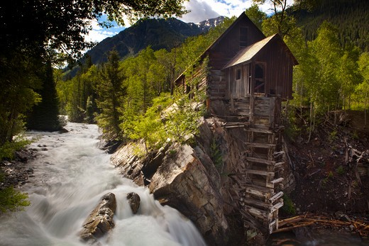 Stock Photo: 1317-728 Mill near a waterfall, Crystal Mill, Crystal, White River National Forest, Gunnison County, Colorado, USA