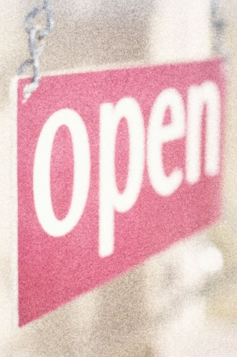 Stock Photo: 1318-982 Close-up of an open sign