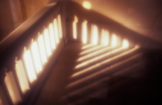 Stock Photo: 1318R-1455 United Kingdom, Norfolk, Sunlight on stairs and balustrade in staircase