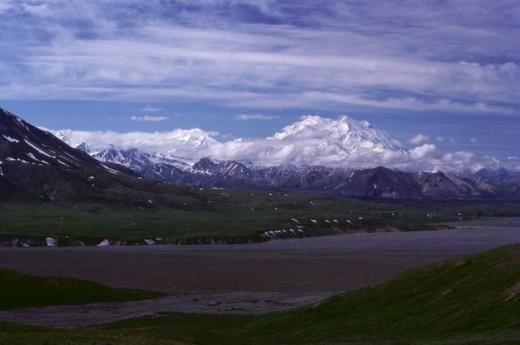 Panoramic view of Mount McKinley, Denali National Park, Alaska, USA : Stock Photo