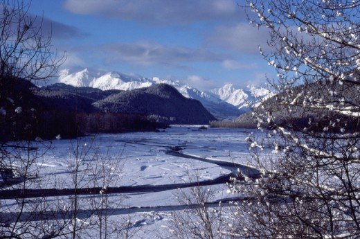 Stock Photo: 1322R-490B Panoramic view of Chilkat Valley, Alaska, USA