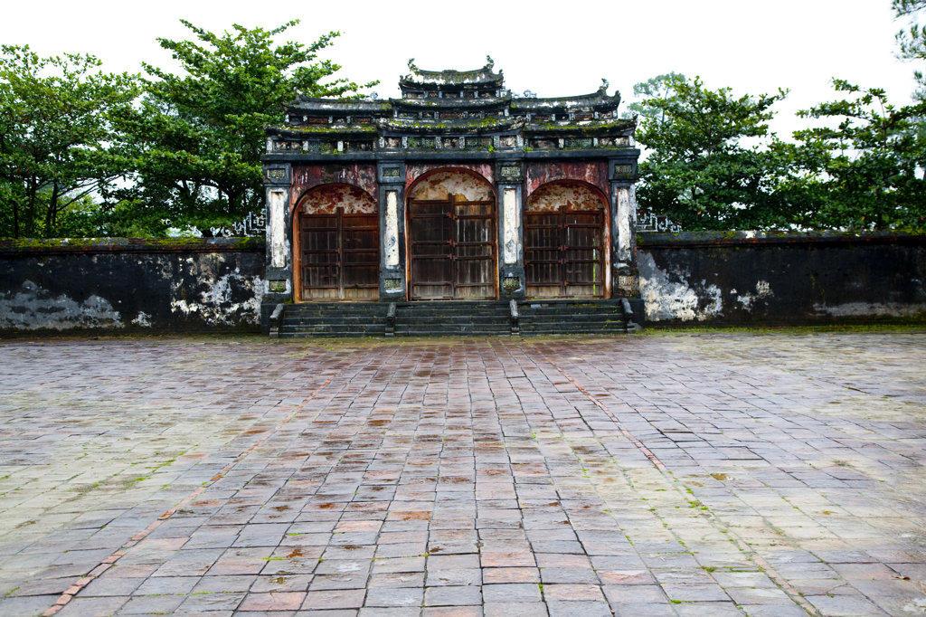 Facade of a tomb, Minh Mang Tomb, Hue, Vietnam : Stock Photo