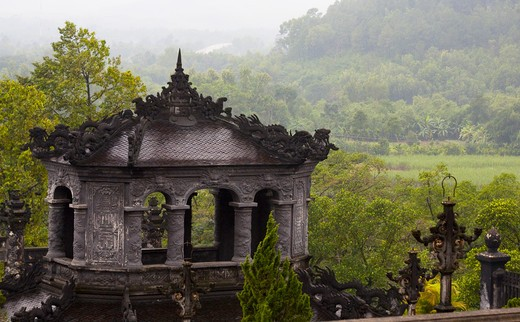 High section view of a tomb, Minh Mang Tomb, Hue, Vietnam : Stock Photo