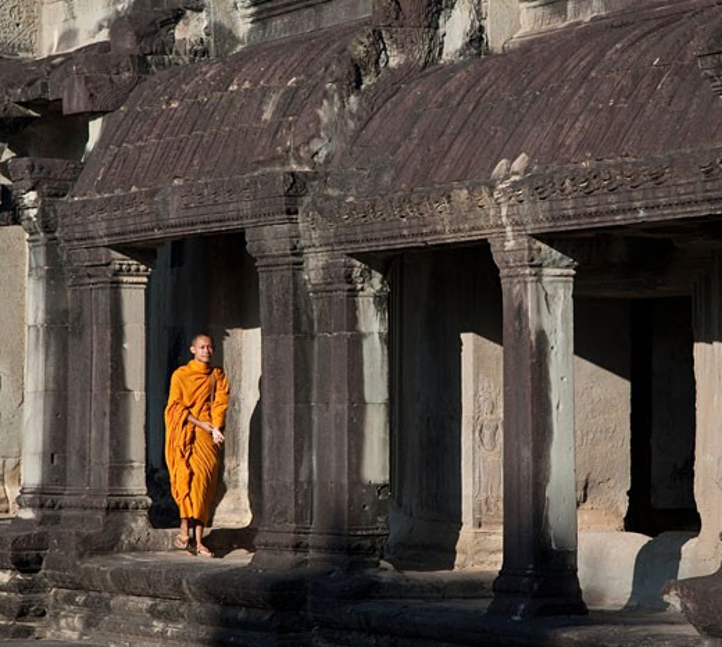 Stock Photo: 1323-1049 Monk at a temple, Angkor Thom, Siem Reap, Angkor, Cambodia