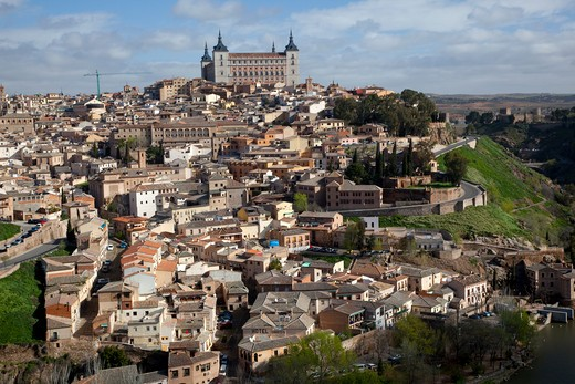 High angle view of a cityscape, Cathedral Of Toledo, Tagus River, Toledo, Castilla La Mancha, Spain : Stock Photo
