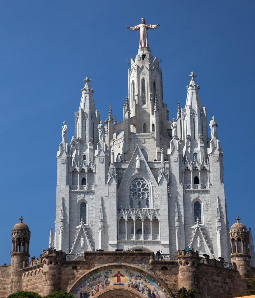 Spain, Barcelona, Tibidabo, Temple Expiatori del Sagrat Cor - The Church of the Sacred Heart : Stock Photo