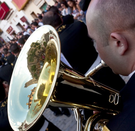 Stock Photo: 1323-1220 Spain, Seville, View of tuba in marching band