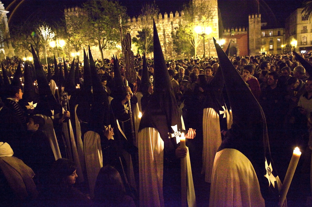Spain, Seville, Procession of Nazarenes at night : Stock Photo