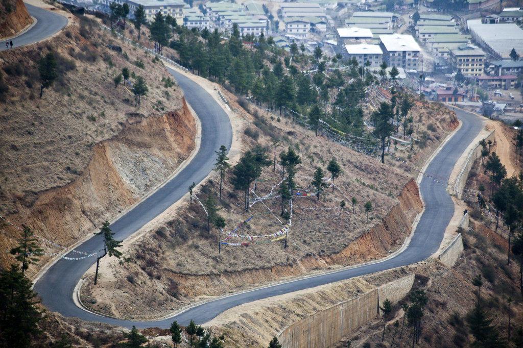 Stock Photo: 1323-1406 High angle view of mountain road, Thimphu, Bhutan