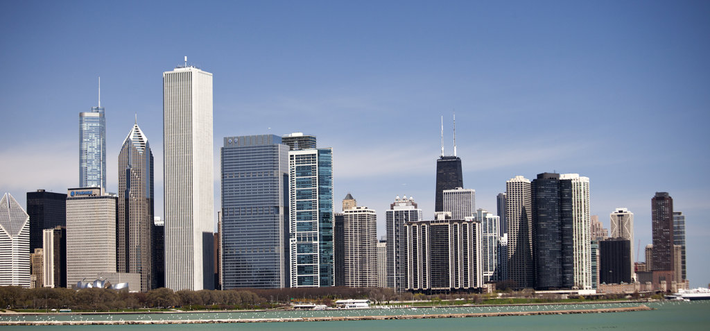 Stock Photo: 1323-1426 Buildings in a city, Chicago, Cook County, Illinois, USA