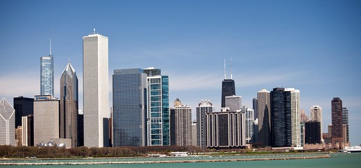 Buildings in a city, Chicago, Cook County, Illinois, USA : Stock Photo