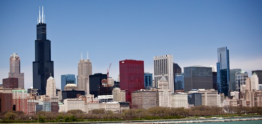 Stock Photo: 1323-1427 Buildings in a city, Chicago, Cook County, Illinois, USA