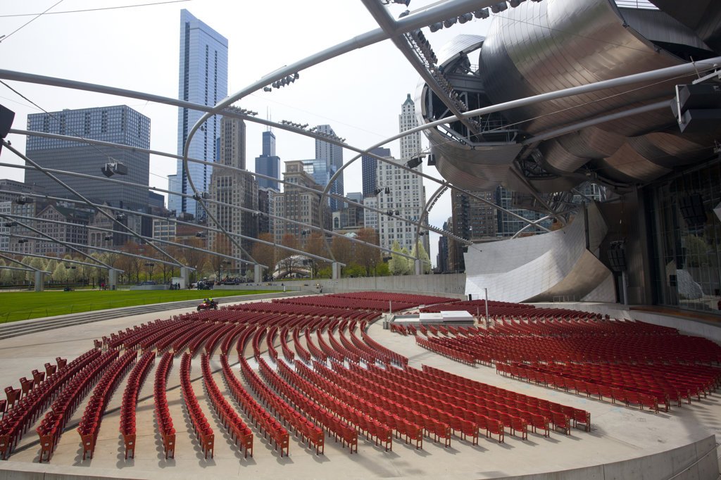 Seating of a theater, Jay Pritzker Pavilion, Millennium Park, Chicago, Cook County, Illinois, USA : Stock Photo