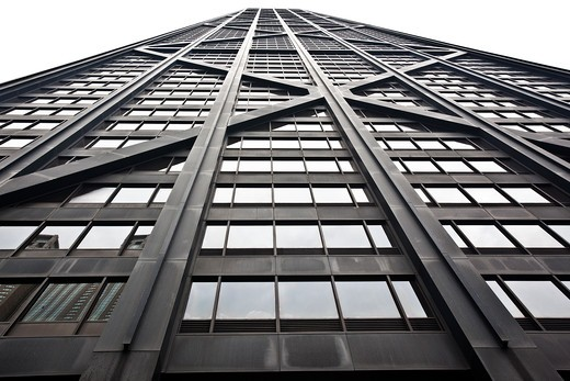 Stock Photo: 1323-1465 Low angle view of a skyscraper, Hancock Building, Chicago, Cook County, Illinois, USA
