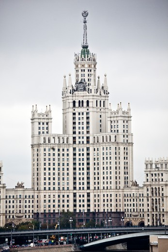 Buildings in a city, Stalin Skyscraper, Moscva River, Moscow, Russia : Stock Photo