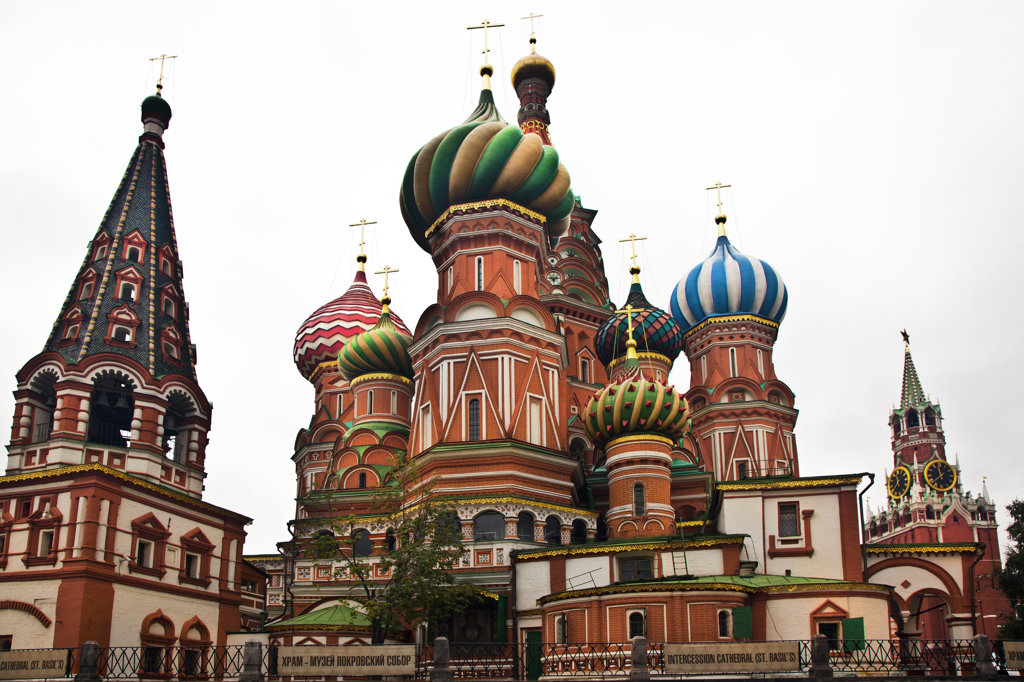 Low angle view of a cathedral, St. Basil's Cathedral, Red Square, Moscow, Russia : Stock Photo