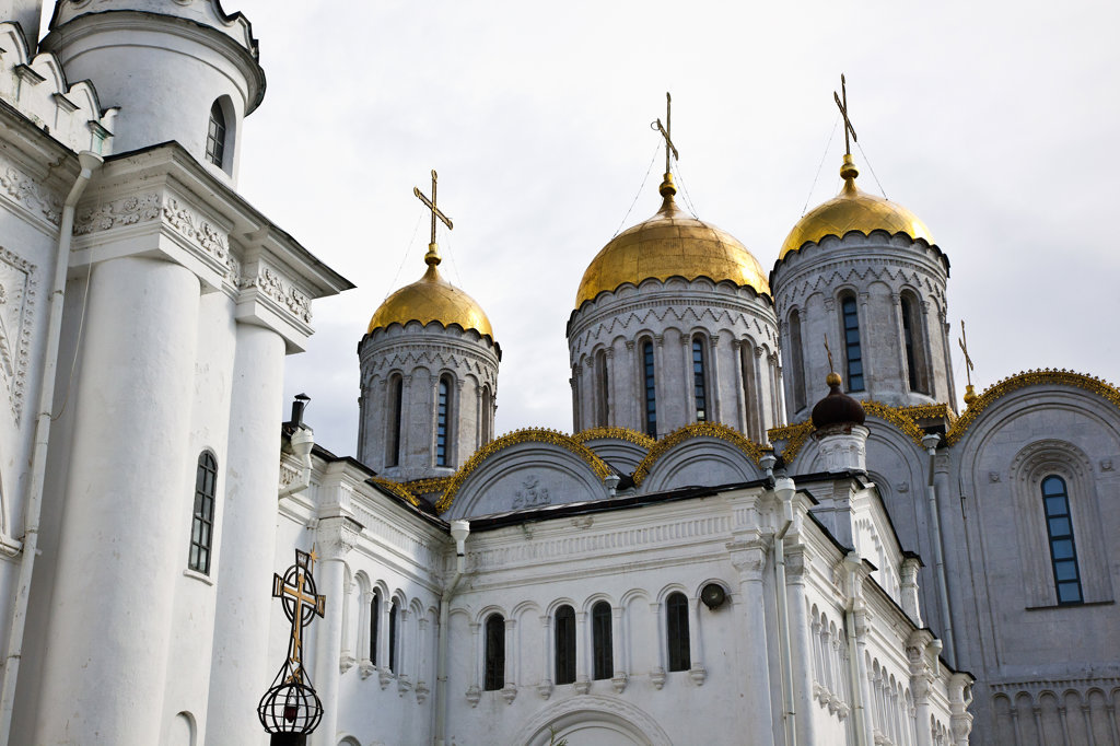 Low angle view of a cathedral, Cathedral of The Assumption, Vladimir, Russia : Stock Photo