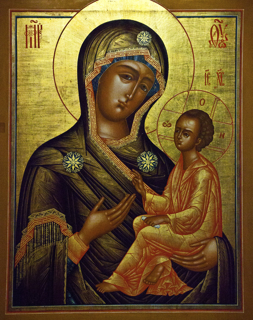 Stock Photo: 1323-1654 Painting of Virgin Mary with Baby Jesus, Monastery of St Ipaty, Kostroma, Russia