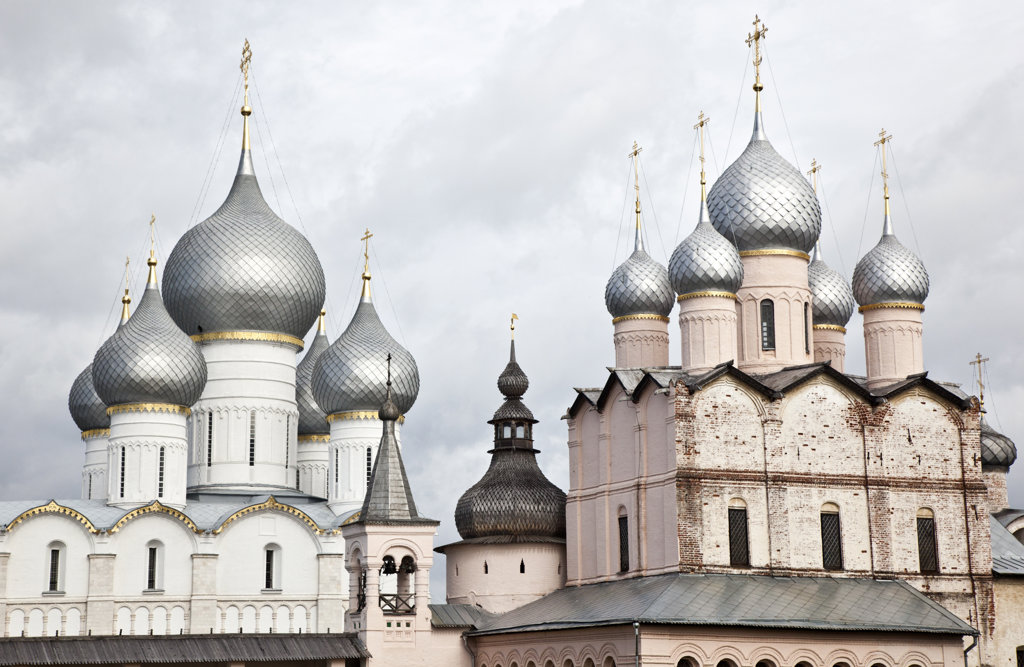 Low angle view of a church, Church of The Resurrection, Rostov Kremlin, Rostov, Yaroslavl Oblast, Russia : Stock Photo