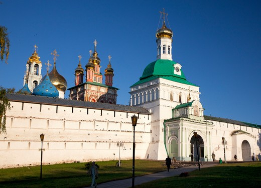 Stock Photo: 1323-1688 Facade of a monastery, Trinity Lavra of St. Sergius, Sergiyev Posad, Moscow Oblast, Russia