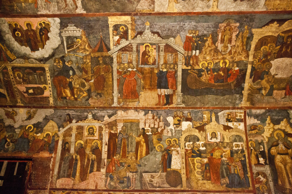 Wall mural in the Church of Elijah The Prophet, Yaroslavl, Russia : Stock Photo