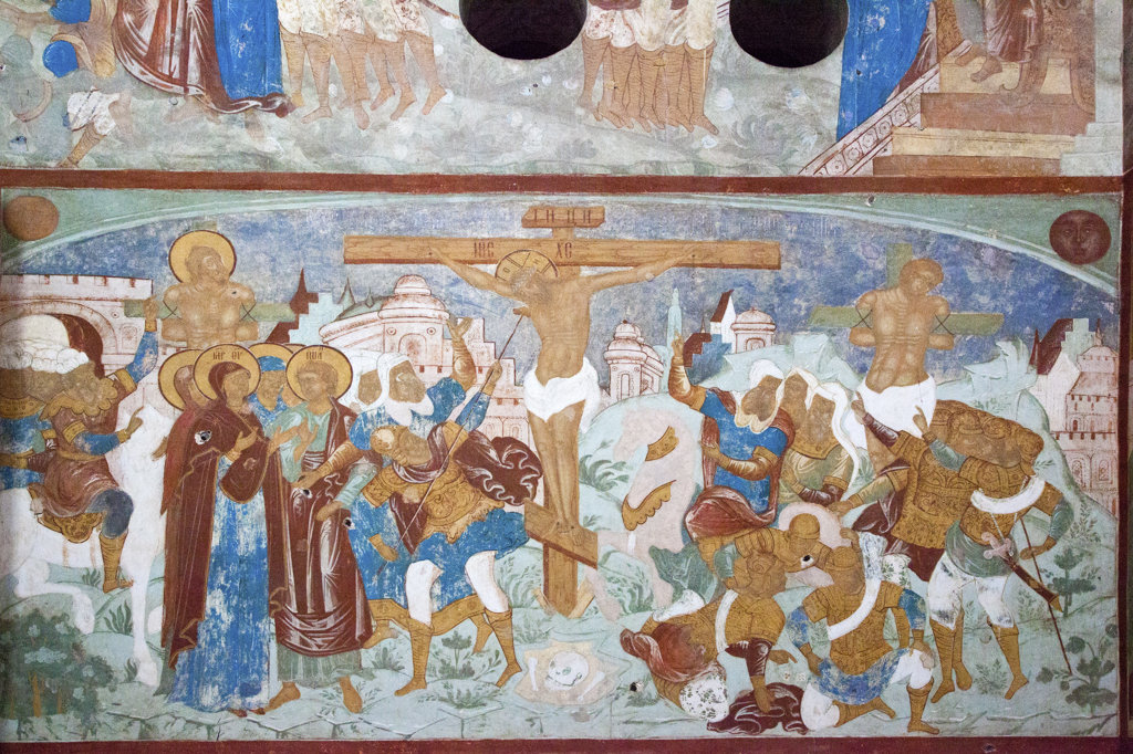 Wall murals in the Church of the Resurrection, Kremlin, Rostov, Russia : Stock Photo