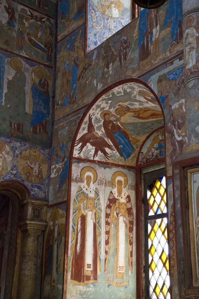 Murals and windows in the Church of the Resurrection, Kremlin, Rostov, Russia : Stock Photo