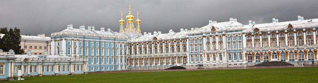 Stock Photo: 1323-1745 Facade of a palace, Catherine Palace, Tsarskoye Selo, St. Petersburg, Russia