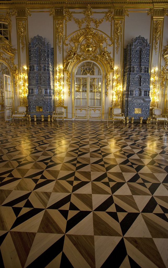 Stock Photo: 1323-1750 Inlaid wooden floor in the palace, Catherine Palace, Tsarskoye Selo, St. Petersburg, Russia