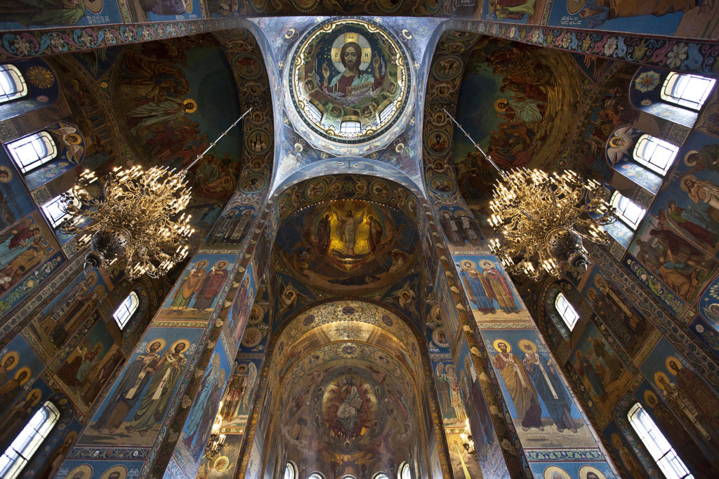Stock Photo: 1323-1768 Interior ceiling of the Church of the Savior on Spilled Blood, St. Petersburg, Russia