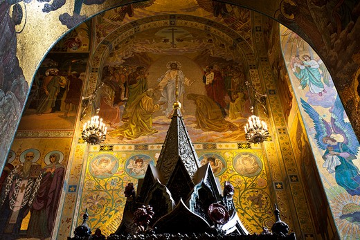Stock Photo: 1323-1770 Interiors of the church, Church of The Savior On Blood, St. Petersburg, Russia