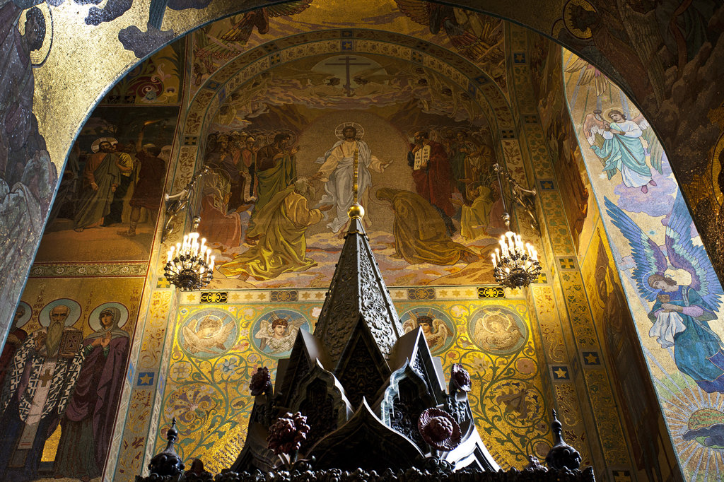 Interiors of the church, Church of The Savior On Blood, St. Petersburg, Russia : Stock Photo